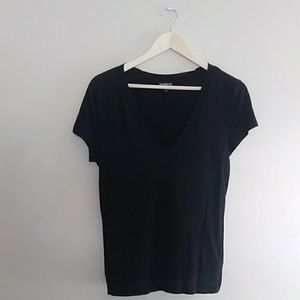 {Express} V Neck Black Tee Small